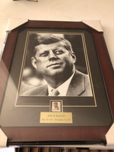 John F. Kennedy framed photograph - matted to include JFK postage stamp
