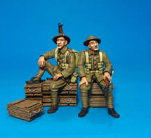58th 2/1st London DivisionN, 2 Tommies waiting, (5pcs)