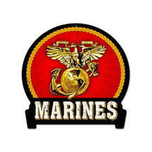 Marines Round Banner Metal Sign Pasttime Signs