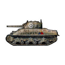 Sherman Tank Custom Metal Shape Pasttime Signs