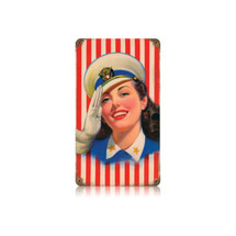 Salute Girl Vintage Metal Sign Pasttime Signs