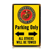 Marine Parking Yellow Vintage Metal Sign Pasttime Signs