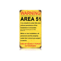 Area 51 Vintage Metal Sign Pasttime Signs