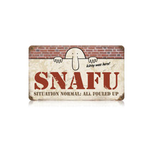 Snafu Vintage Metal Sign Pasttime Signs