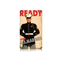 Ready US Marine Vintage Metal Sign Pasttime Signs