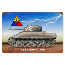 Sherman Tank Vintage Metal Sign Pasttime Signs