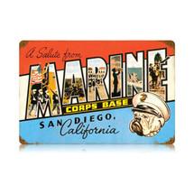 San Diego Marine Vintage Metal Sign Pasttime Signs