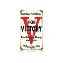 V for Victory Vintage Metal Sign Pasttime Signs PT-V481