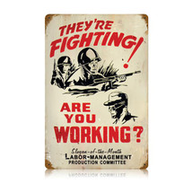 Fighting Working Vintage Metal Sign Pasttime Signs