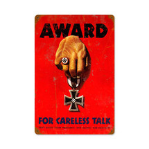 Careless Award Vintage Metal Sign Pasttime Signs