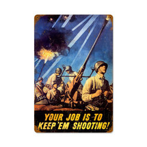 Keep Em Shooting Vintage Metal Sign Pasttime Signs