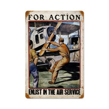 For Action Vintage Metal Sign Pasttime Signs
