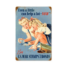 US War Stamps Vintage Metal Sign Pasttime Signs
