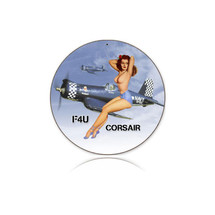 """Corsair Nude"" Round Metal Sign Pasttime Signs"