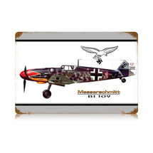 """BF-109 Messerschmitt"" Vintage Metal Sign Pasttime Signs"