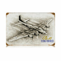 """B-17 Flying Fortress"" Vintage Metal Sign Pasttime Signs"