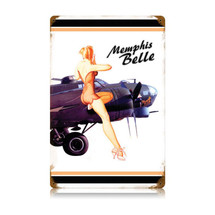 """Memphis Belle White"" Vintage Metal Sign Pasttime Signs"