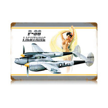 """P-38 Nude"" Vintage Metal Sign Pasttime Signs"