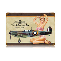 """Spitfire Pin Up"" Vintage Metal Sign Pasttime Signs"