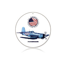 """F4U Corsair"" Round Metal Sign Pasttime Signs"