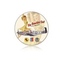 """""""Beautiful Doll"""" Round Metal Sign Pasttime Signs"""