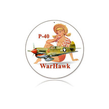 """P-40 Warhawk"" Round Metal Sign Pasttime Signs"