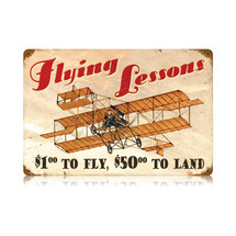 """Flying Lessons"" Vintage Metal Sign Pasttime Signs"