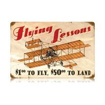 """Flying Lessons"" Vintage Metal Sign Pasttime Signs"