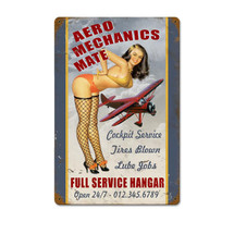 """Aero Mechs Mate"" Vintage Metal Sign Pasttime Signs"