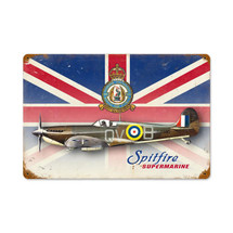 """Spitfire Union Jack"" Vintage Metal Sign Pasttime Signs"