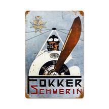 """""""Fokker Schwerin"""" Vintage Metal Sign Pasttime Signs"""