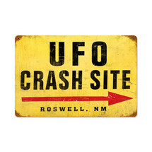 """UFO Crash"" Vintage Metal Sign Pasttime Signs"