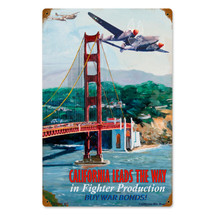 """""""California Leads"""" Vintage Metal Sign Pasttime Signs"""