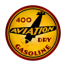 """Aviation Gasoline"" Round Metal Sign Pasttime Signs"