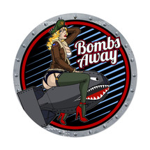 Bombs Away Round Metal Sign Pasttime Signs