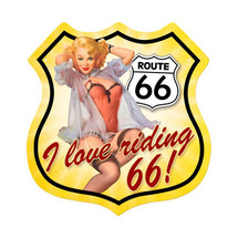 Route 66 Pinup Shield Metal Sign Pasttime Signs