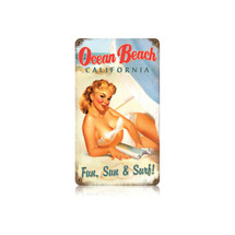 Ocean Beach Vintage Metal Sign Pasttime Signs