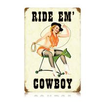 Ride Em Cowboy Vintage Metal Sign Pasttime Signs