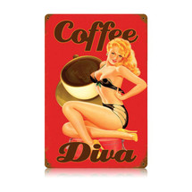 Coffee Diva Vintage Metal Sign Pasttime Signs