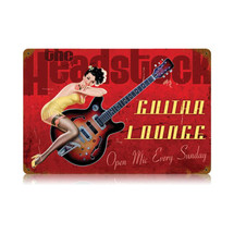 Guitar Lounge Vintage Metal Sign Pasttime Signs