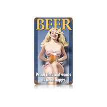 Beer Pin Up Vintage Metal Sign Pasttime Signs