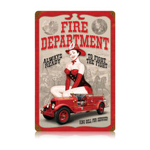 Fire Dept. Pin Up Vintage Metal Sign Pasttime Signs