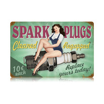 Spark Plugs Pin Up Vintage Metal Sign Pasttime Signs