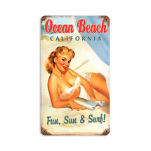 Ocean Beach Pinup Vintage Metal Sign Pasttime Signs PT-V994
