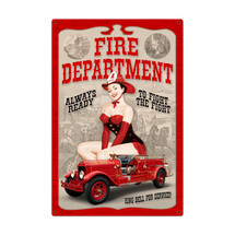 Fire Department Pinup Metal Sign Pasttime Signs