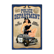 Police Department Pinup Metal Sign Pasttime Signs