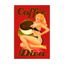 Coffee Diva Metal Sign Pasttime Signs