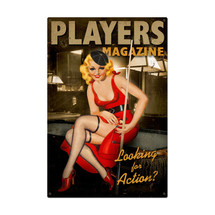 Players Pool Girl Metal Sign Pasttime Signs
