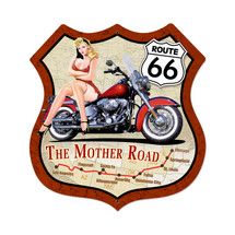 Route 66 Pinup Shield Metal Sign Pasttime Signs PT-VXL062