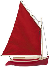 Cat Boat Red and Ivory Authentic Models